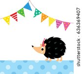 cute porcupine party vector | Shutterstock .eps vector #636369407