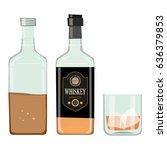 whiskey bottle with drinking... | Shutterstock .eps vector #636379853