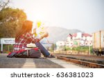 traveler women wearing backpack ... | Shutterstock . vector #636381023