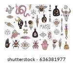 esoteric  sacred geometry... | Shutterstock .eps vector #636381977