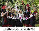 young ladies at hen party event ... | Shutterstock . vector #636387743
