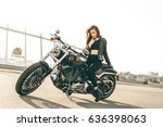 girl on a motorcycle. she is...   Shutterstock . vector #636398063