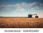 combine harvester agriculture... | Shutterstock . vector #636402683