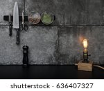 kitchen accessories mounted on... | Shutterstock . vector #636407327
