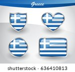 glossy greece flag icon set... | Shutterstock .eps vector #636410813