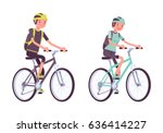 man and woman riding sport... | Shutterstock .eps vector #636414227