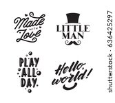 set of kid clothes typography... | Shutterstock .eps vector #636425297
