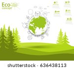 environmentally friendly world. ... | Shutterstock .eps vector #636438113