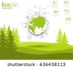 environmentally friendly world. ... | Shutterstock .eps vector #636438113