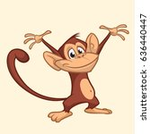 excited cute monkey dancing... | Shutterstock .eps vector #636440447
