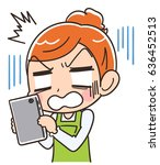 a housewife is shocked at... | Shutterstock .eps vector #636452513