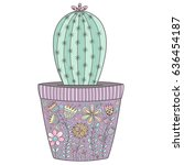 cactus in the pot with floral... | Shutterstock .eps vector #636454187