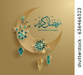 paper graphic of islamic... | Shutterstock .eps vector #636466523