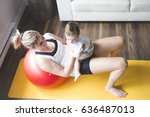 a sports mother is engaged in... | Shutterstock . vector #636487013