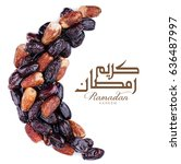 ramadan kareem with dates... | Shutterstock . vector #636487997