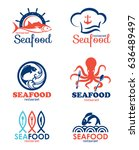 seafood restaurant and fish... | Shutterstock .eps vector #636489497