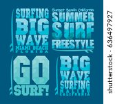set summer surfing  typography... | Shutterstock . vector #636497927