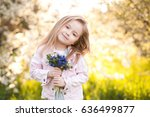 cute baby girl 5 6 year old... | Shutterstock . vector #636499877
