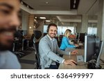 handsome man working in a call... | Shutterstock . vector #636499997