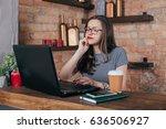 young freelancer girl is... | Shutterstock . vector #636506927