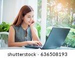 happy asian business woman... | Shutterstock . vector #636508193