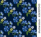 embroidery seamless pattern... | Shutterstock .eps vector #636509543