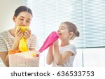 beautiful young woman and child ... | Shutterstock . vector #636533753