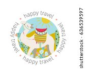 background with a cute smiling... | Shutterstock .eps vector #636539597
