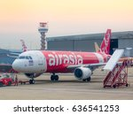air asia airplane being parked... | Shutterstock . vector #636541253