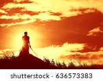 fighter with a sword silhouette ... | Shutterstock . vector #636573383