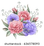 hand painted watercolor... | Shutterstock . vector #636578093