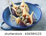 fresh figs and blue cheese | Shutterstock . vector #636584123