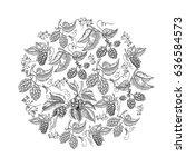 circle pattern hop foliated... | Shutterstock .eps vector #636584573