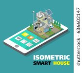 smart home with outline icons... | Shutterstock .eps vector #636602147