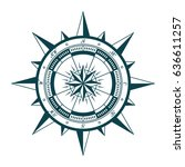 vintage nautical compass rose.... | Shutterstock .eps vector #636611257