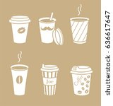 set of stylish coffee cups.... | Shutterstock .eps vector #636617647