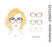vector set beautiful women... | Shutterstock .eps vector #636622123