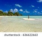 beautiful beach and lagoon at... | Shutterstock . vector #636622663