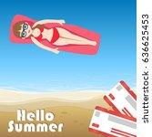 summer vacation banner. vector... | Shutterstock .eps vector #636625453
