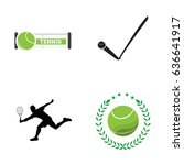 set of tennis related objects ... | Shutterstock .eps vector #636641917
