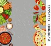 vegetarian restaurant menu... | Shutterstock . vector #636642283