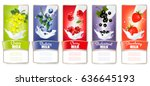 set of three labels of of fruit ... | Shutterstock .eps vector #636645193