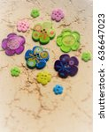 Small photo of Romanticism in Colorful Flower-shaped Buttons