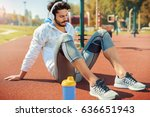 fitness training. young... | Shutterstock . vector #636651943