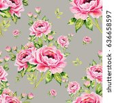 seamless pattern of bouquets of ... | Shutterstock . vector #636658597