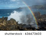 blowhole on the amazing... | Shutterstock . vector #636673603