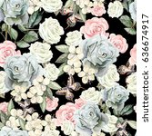 pattern with watercolor... | Shutterstock . vector #636674917