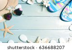 summer accessories on the... | Shutterstock . vector #636688207