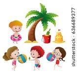 kids playing in beach gear | Shutterstock .eps vector #636689377