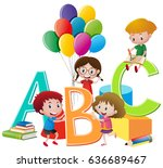 kids playing with letters of... | Shutterstock .eps vector #636689467